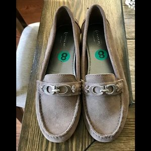 New Coach Fortunata 8 Taupe Suede Driving Loafer
